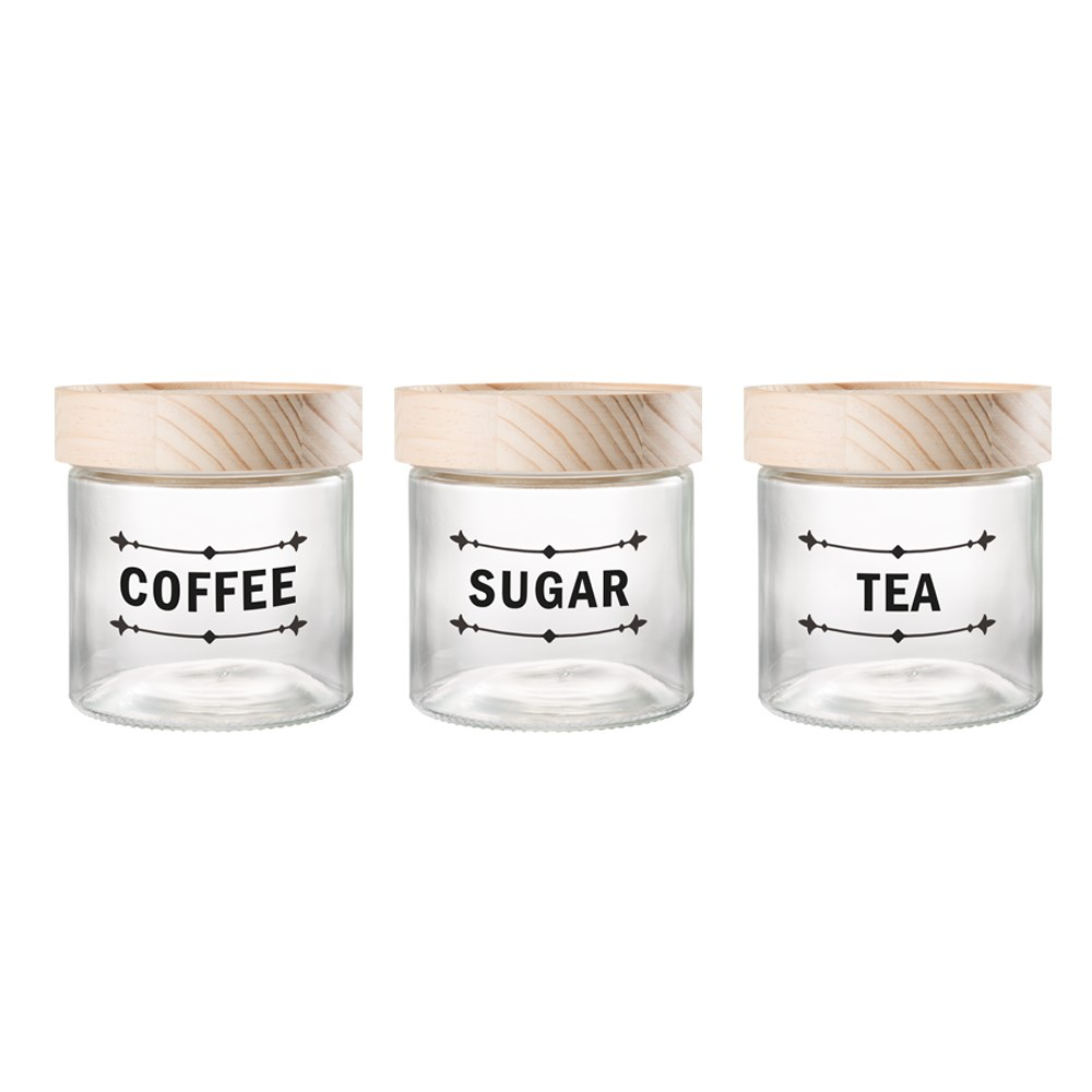 Ambrosia 3 Piece Tea, Coffee & Sugar Glass Canister Set with Pinewood Lids 750ml