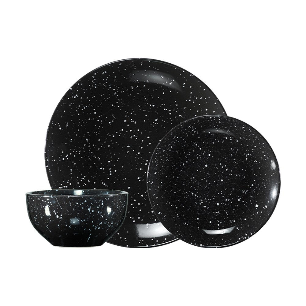 Ambrosia Aspen 12 Piece Stoneware Dinner Set Black Speckle