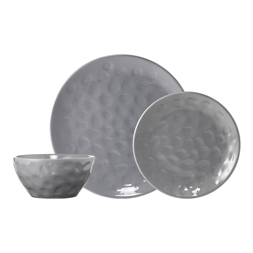 Ambrosia Harly 12 Piece Stoneware Dinner Set Grey Dimple
