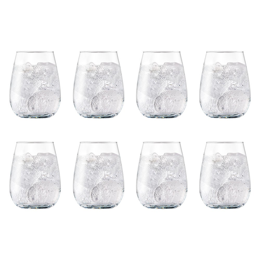 Cellar 8 Piece Flat Bottom Stemless Wine Glass Set 450ml
