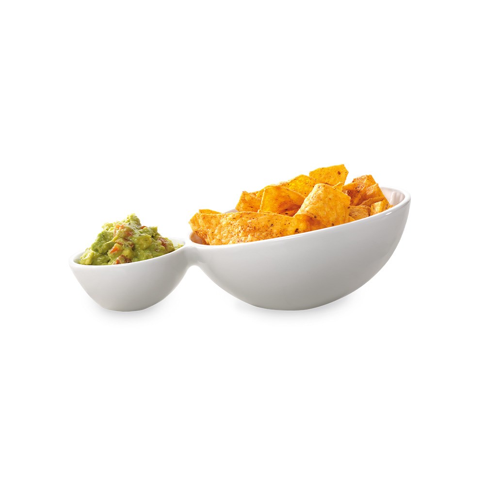 Ambrosia Zest Tilt Chip & Dip Serving Plate 24cm White