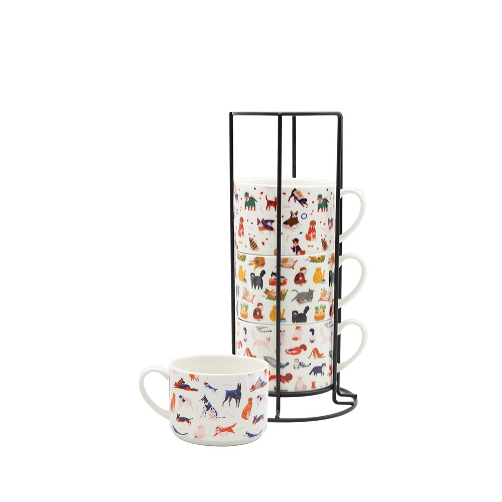 Ambrosia Set of 4 Stackable Mugs with Stand 285ml Pets