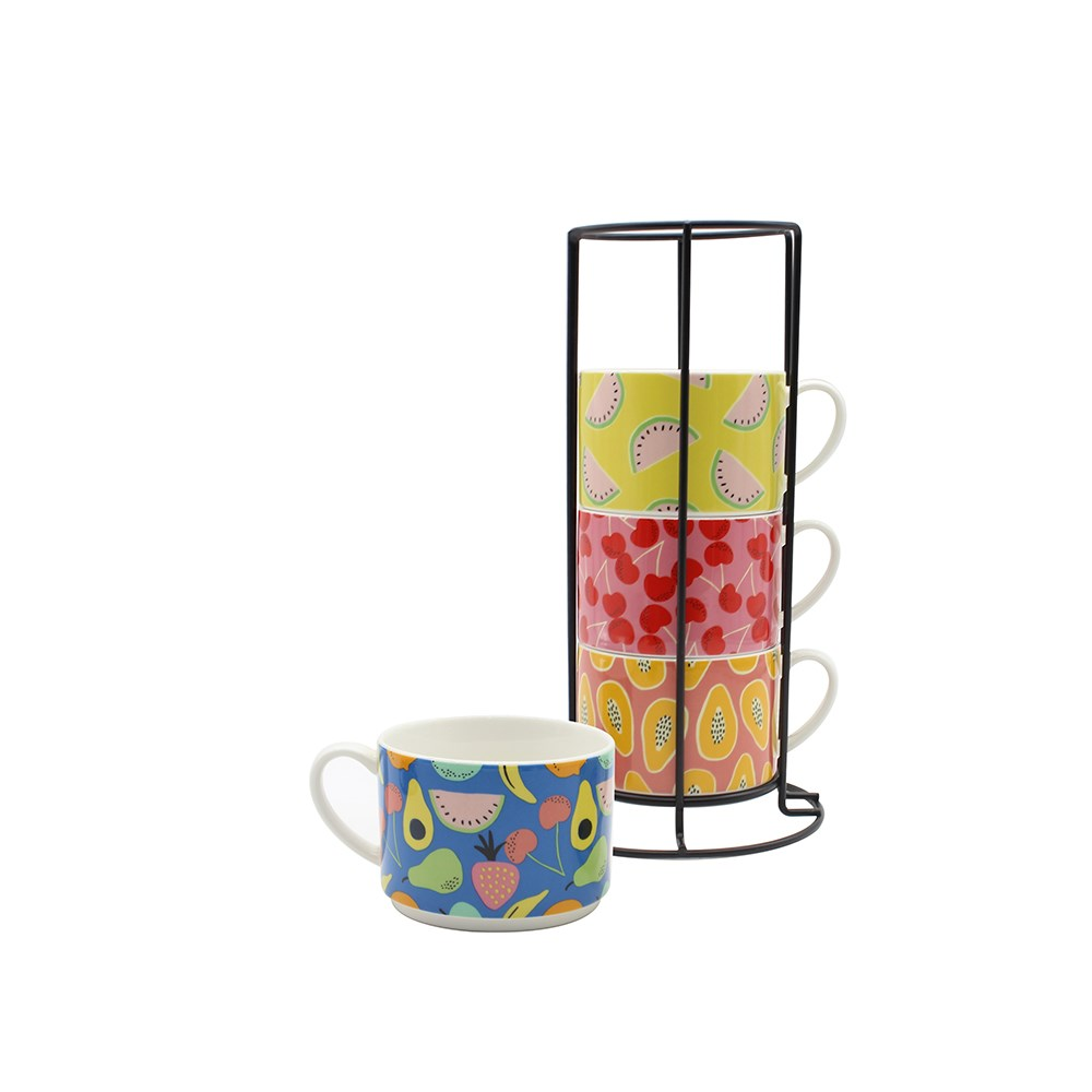Ambrosia Set of 4 Stackable Mugs with Stand 285ml Tropic