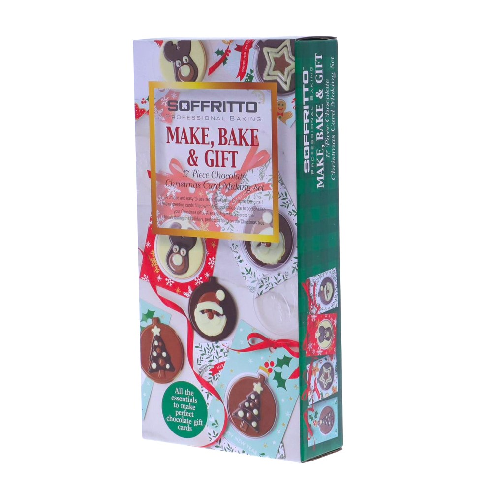 Soffritto Professional Bake 17 Piece Chocolate Christmas Card Making Set