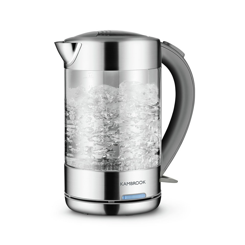 Kambrook Stainless Steel & Glass Kettle 1.5L Clear