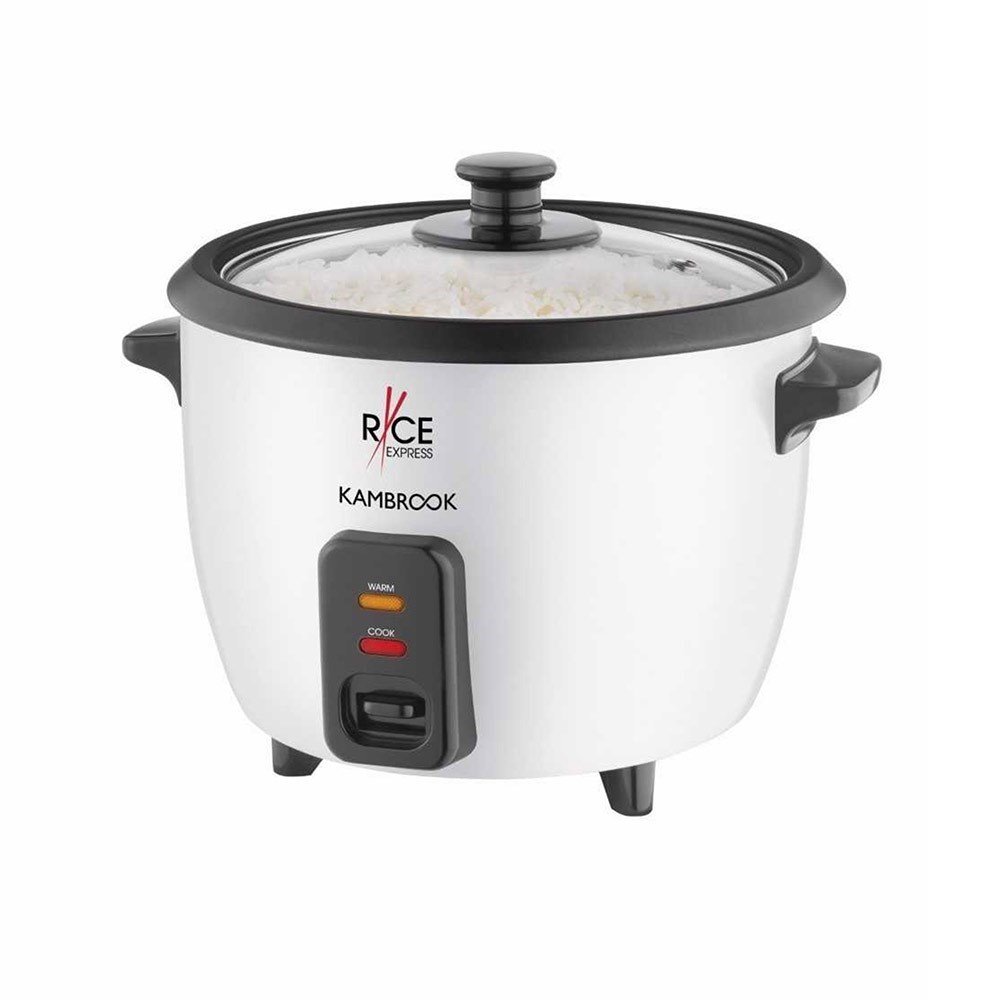 Kambrook Rice Express Plastic 5 Cup Rice Cooker 26 x 22.8 x 21.5cm White & Black