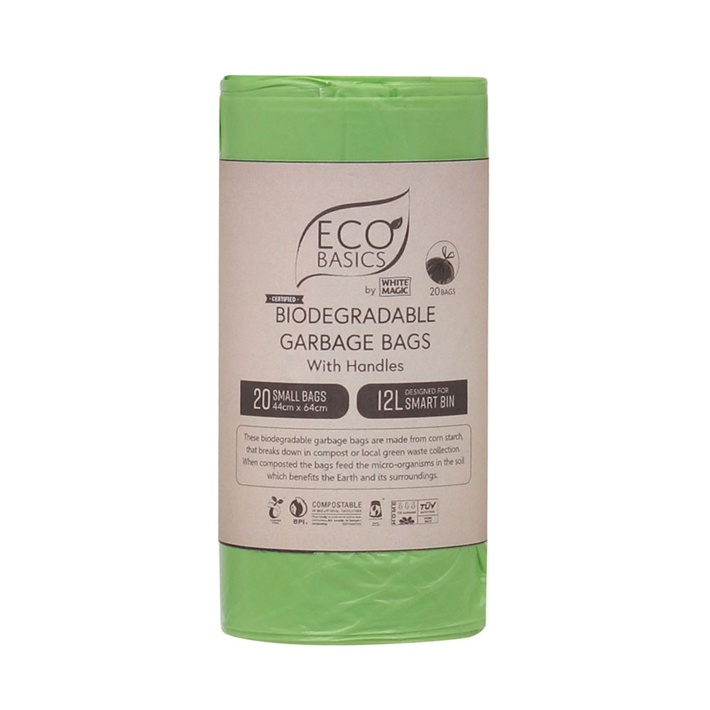 Eco Basics 20 Piece Biodegradable Garbage Bags Set Small 12L