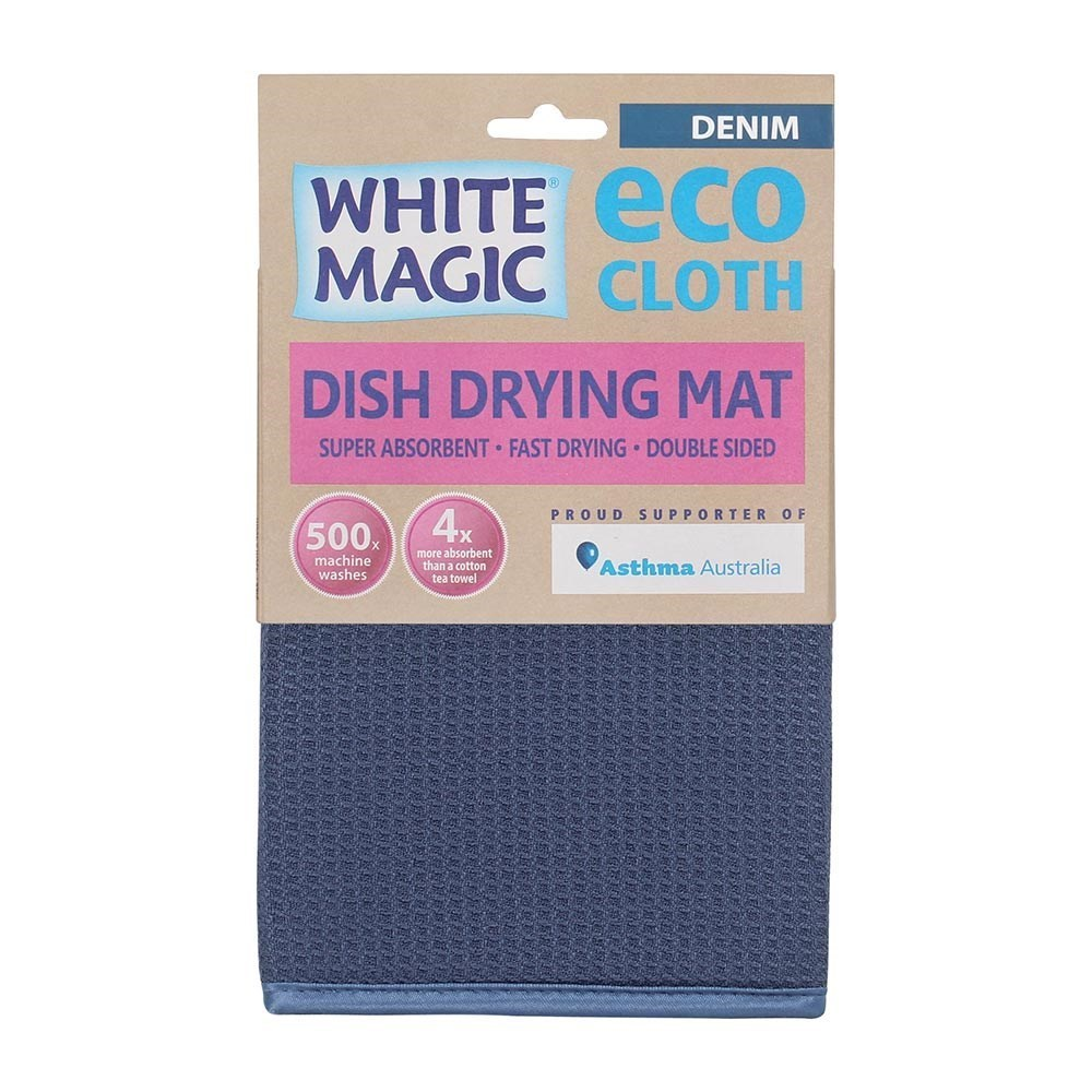 White Magic Eco Cloth Dish Drying Mat Denim Blue