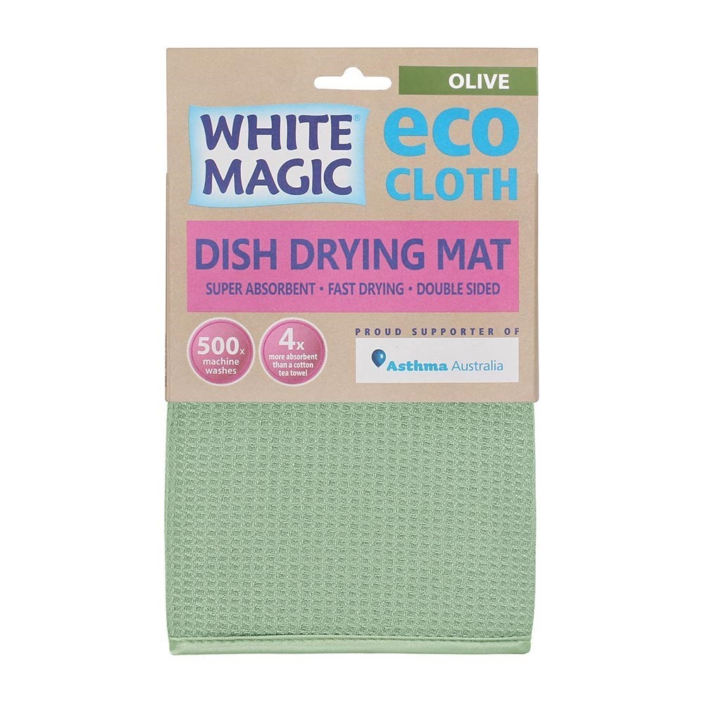 White Magic Eco Cloth Dish Drying Mat Olive Green