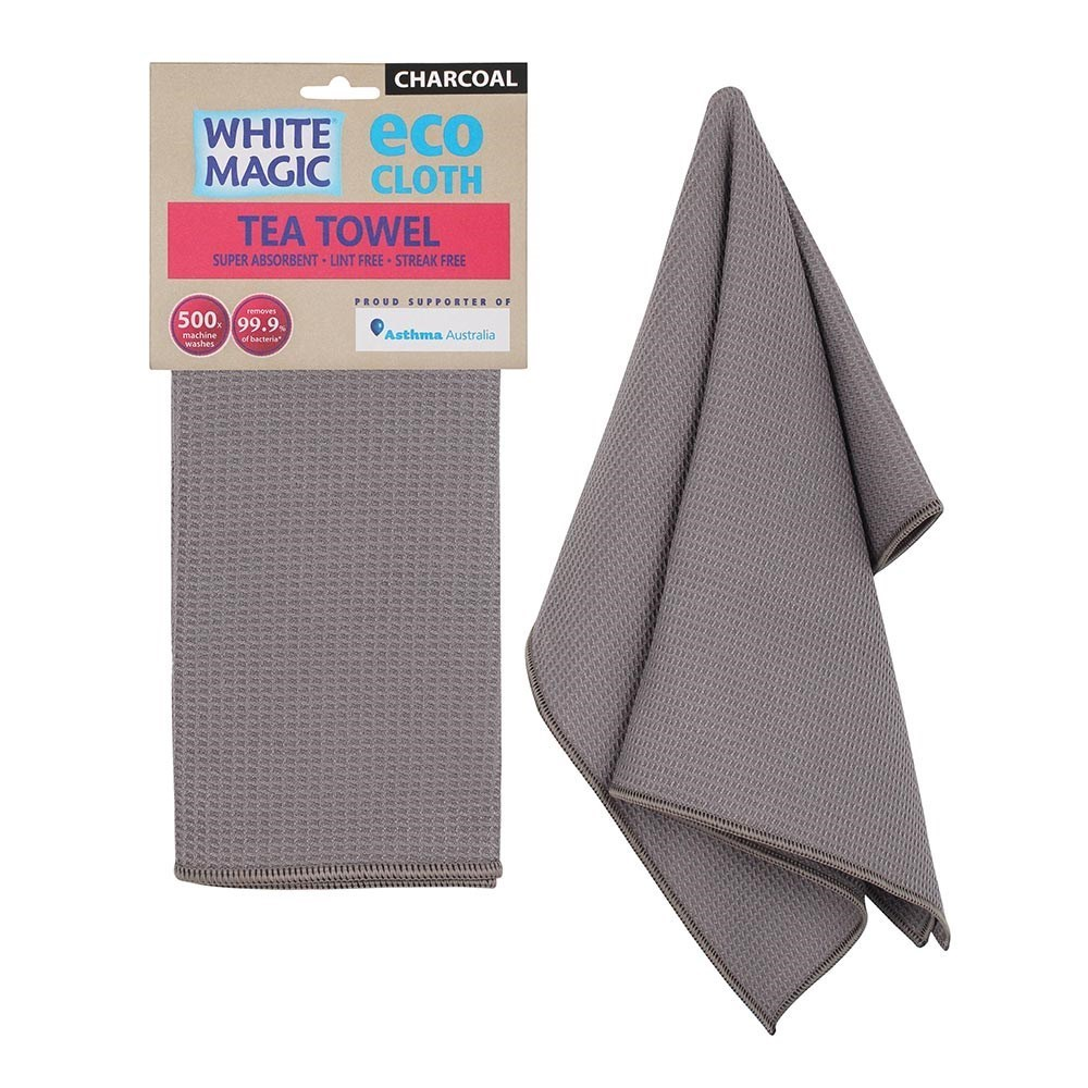 White Magic Eco Cloth Tea Towel Single Pack Charcoal Grey