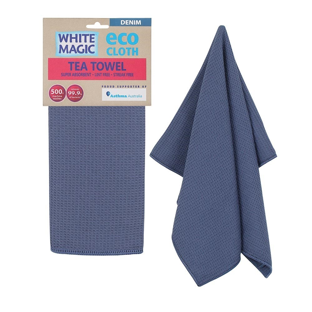 White Magic Eco Cloth Tea Towel Single Pack Denim Blue