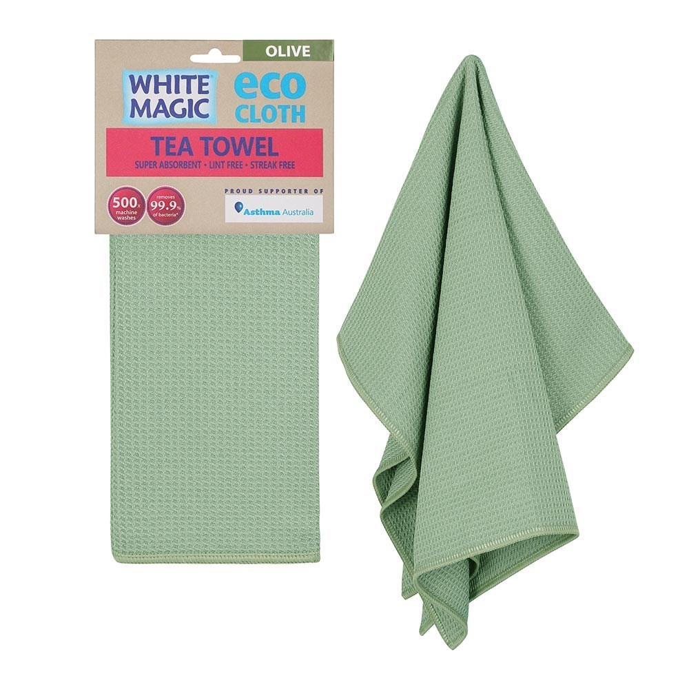 White Magic Eco Cloth Tea Towel Single Pack Olive Green