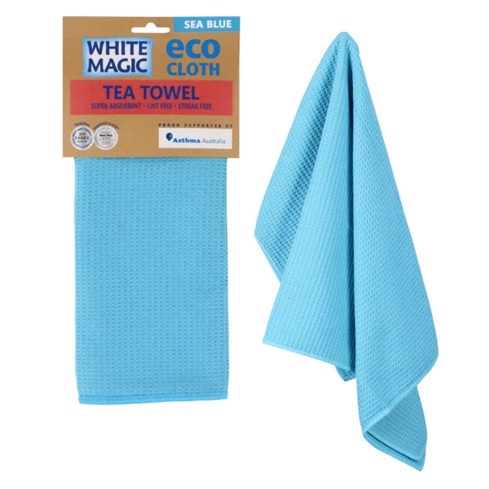 White Magic Tea Towel Sea Blue