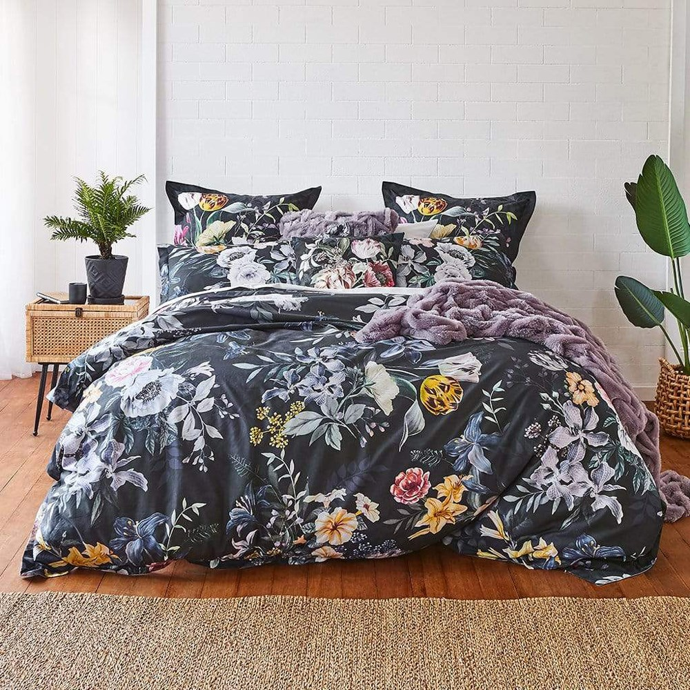 MyHouse Blossom Queen Bed Quilt Cover Set Dark Blue