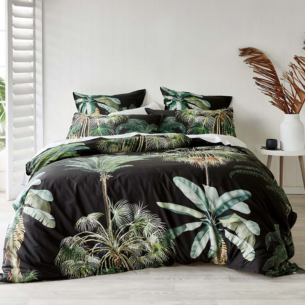 Coco Black Quilt Cover Set Double