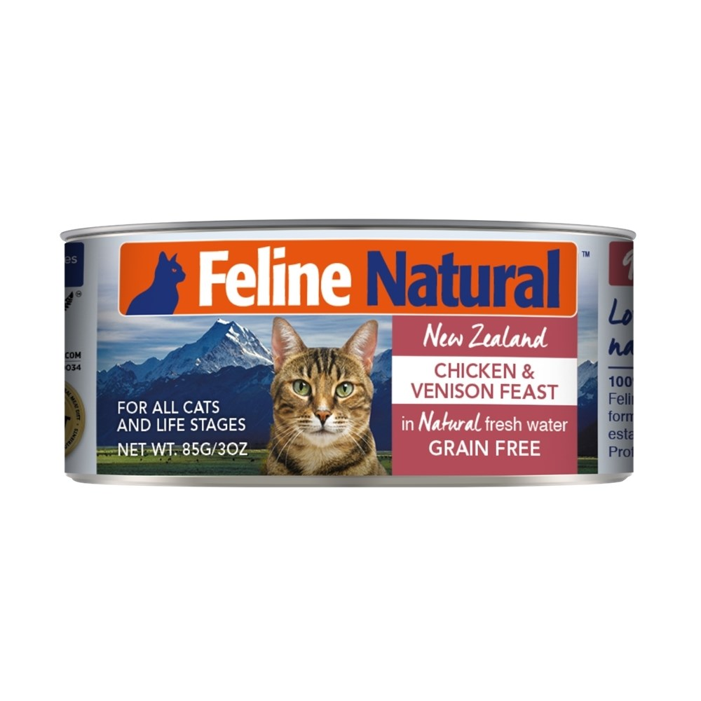 Feline Natural Canned Chicken & Venison Cat Food 24x85g