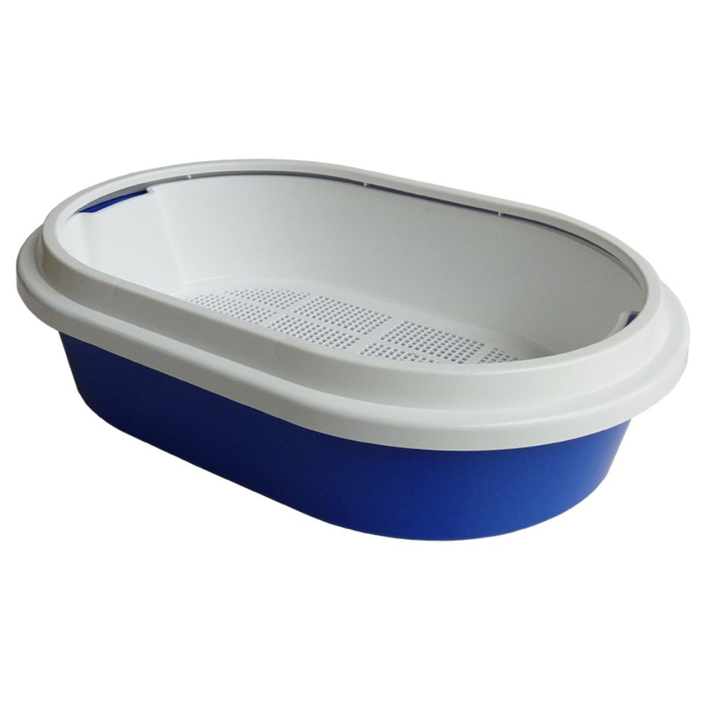 K9 Homes Cat Litter Tray with Sieve Oval Blue 60x40x17cm