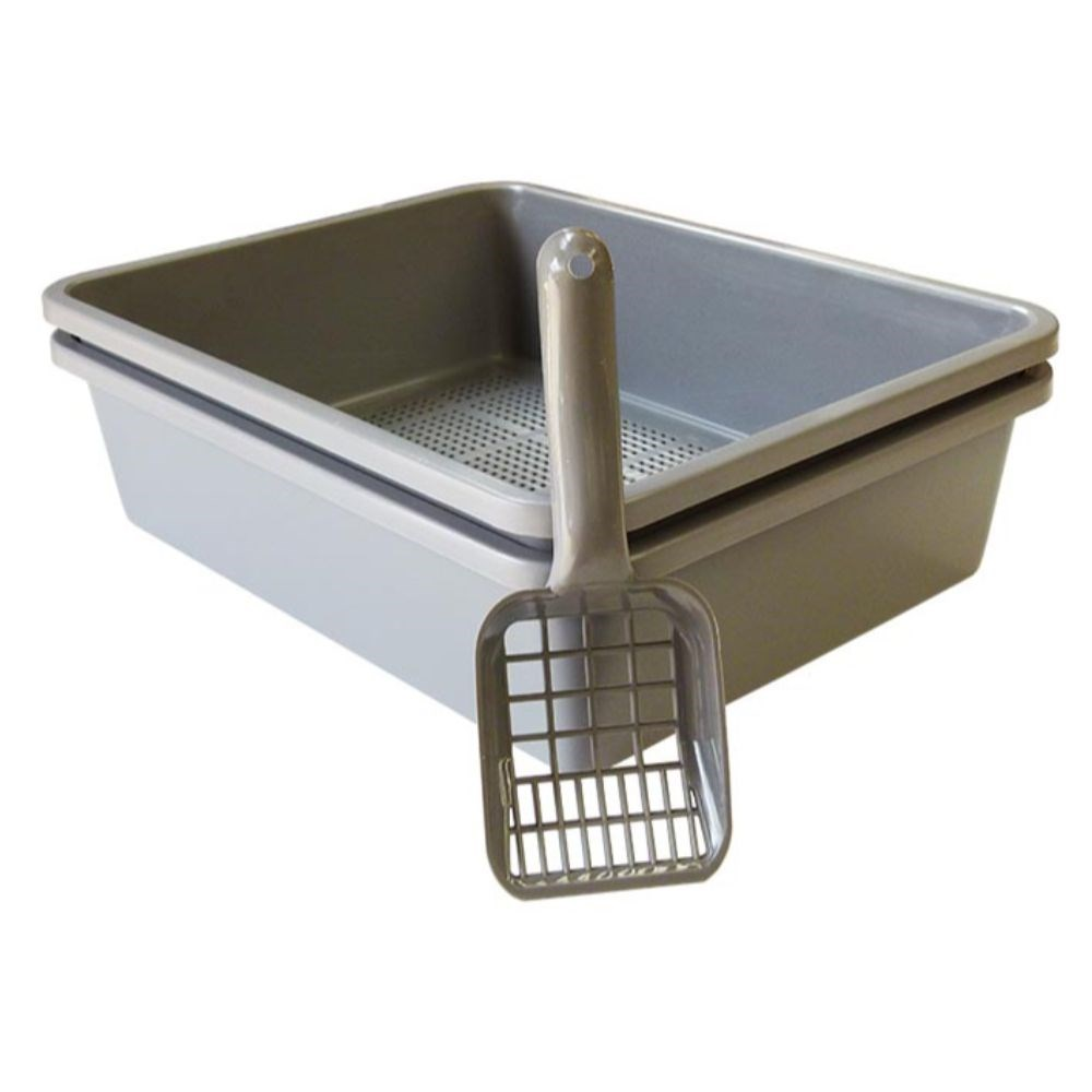 K9 Homes Cat Litter Tray with Sieve & Scoop Charcoal 46x36x12cm