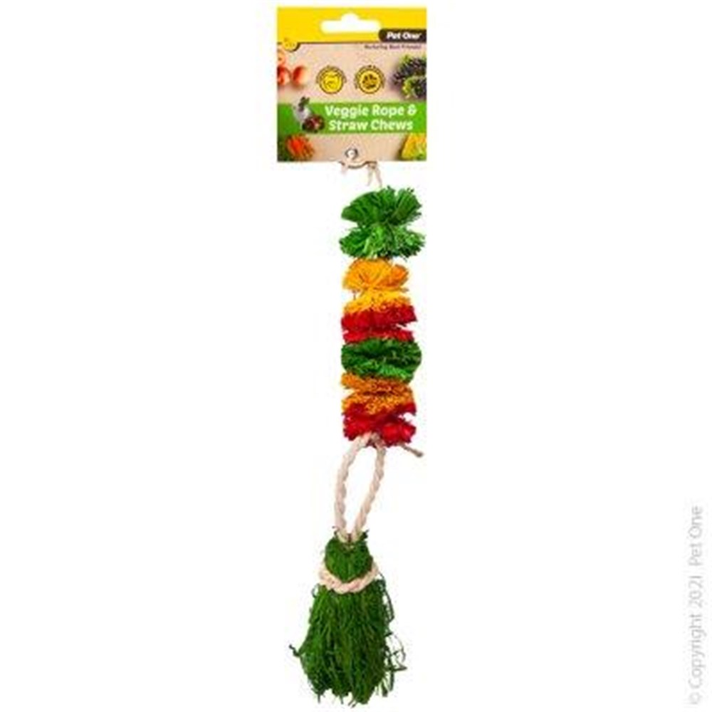 Pet One Small Animal Veggie Rope And Straw Chew Hanging Pom Poms