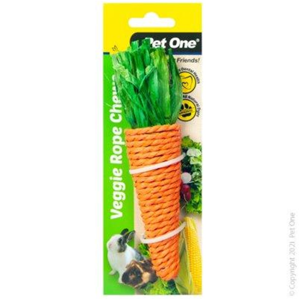 Pet One Small Animal Veggie Rope Chew Carrot Large