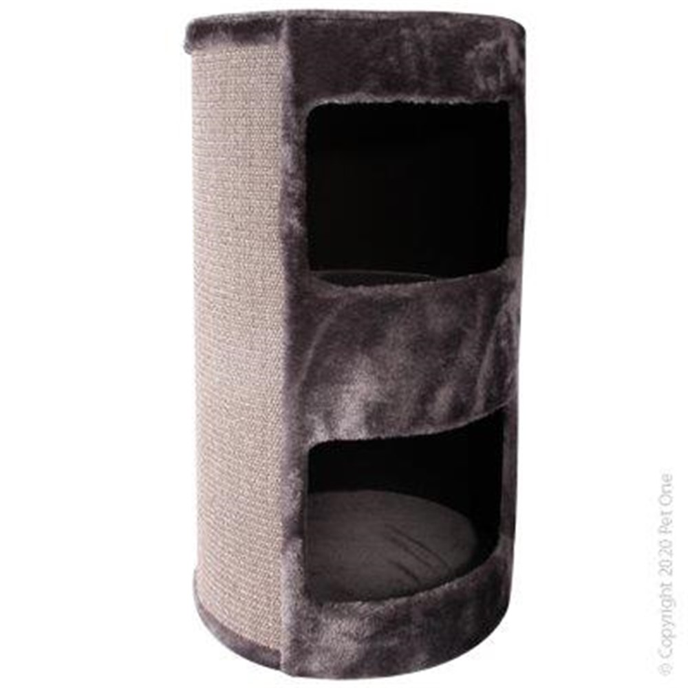 Pet One Cat Scratching Tree Post With Bed & Double Hide Grey