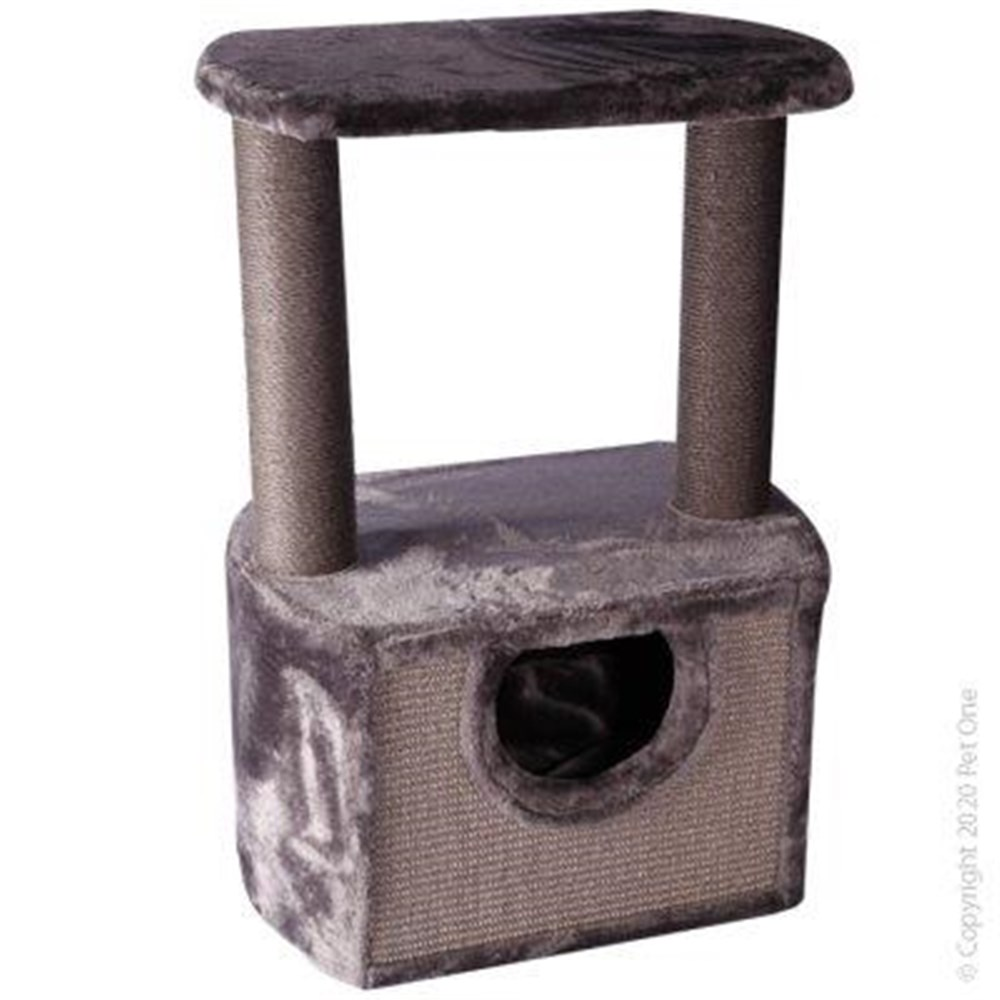Pet One Cat Scratching Tree Double Post With Platform & Hide Grey