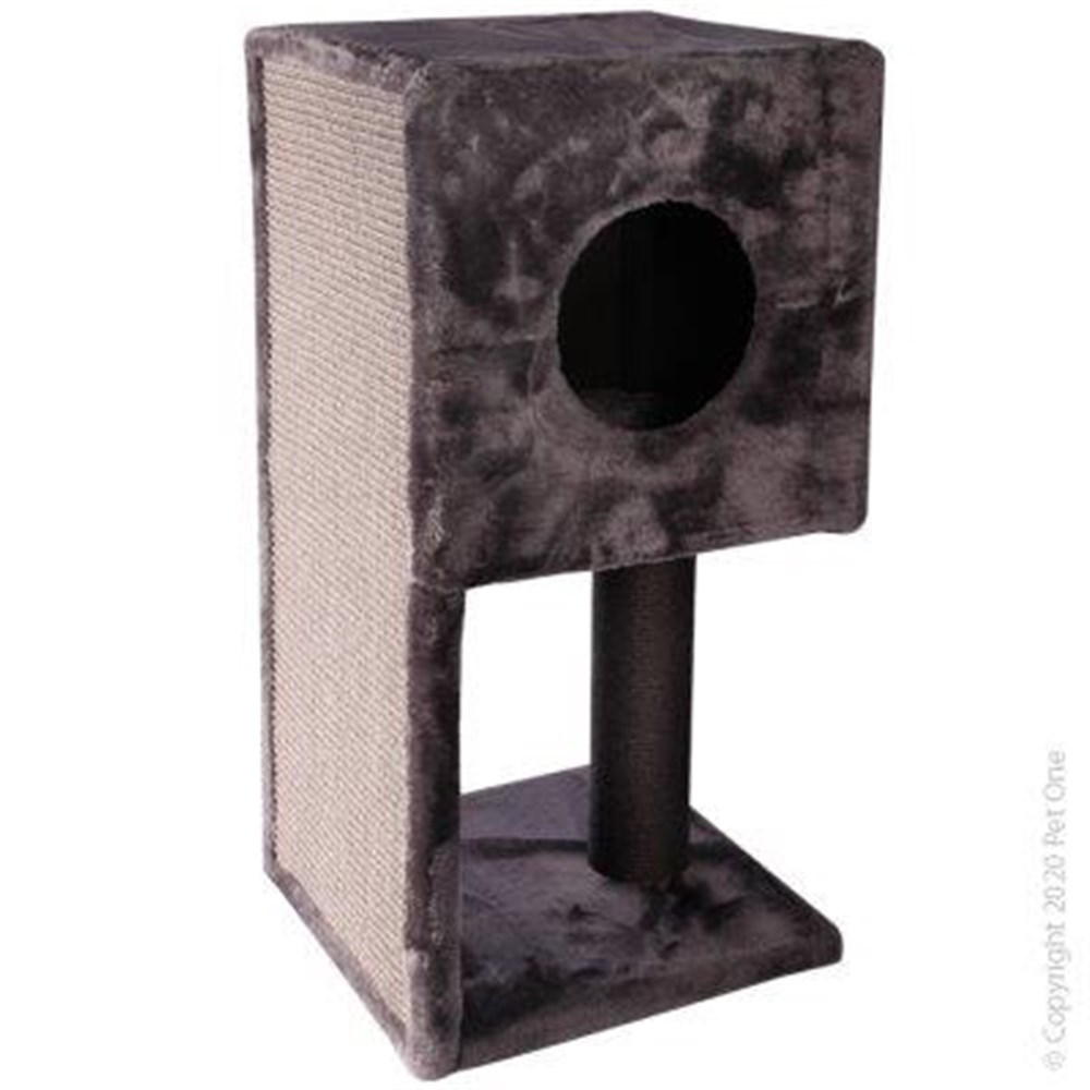 Pet One Cat Scratching Tree Post With Hide Grey
