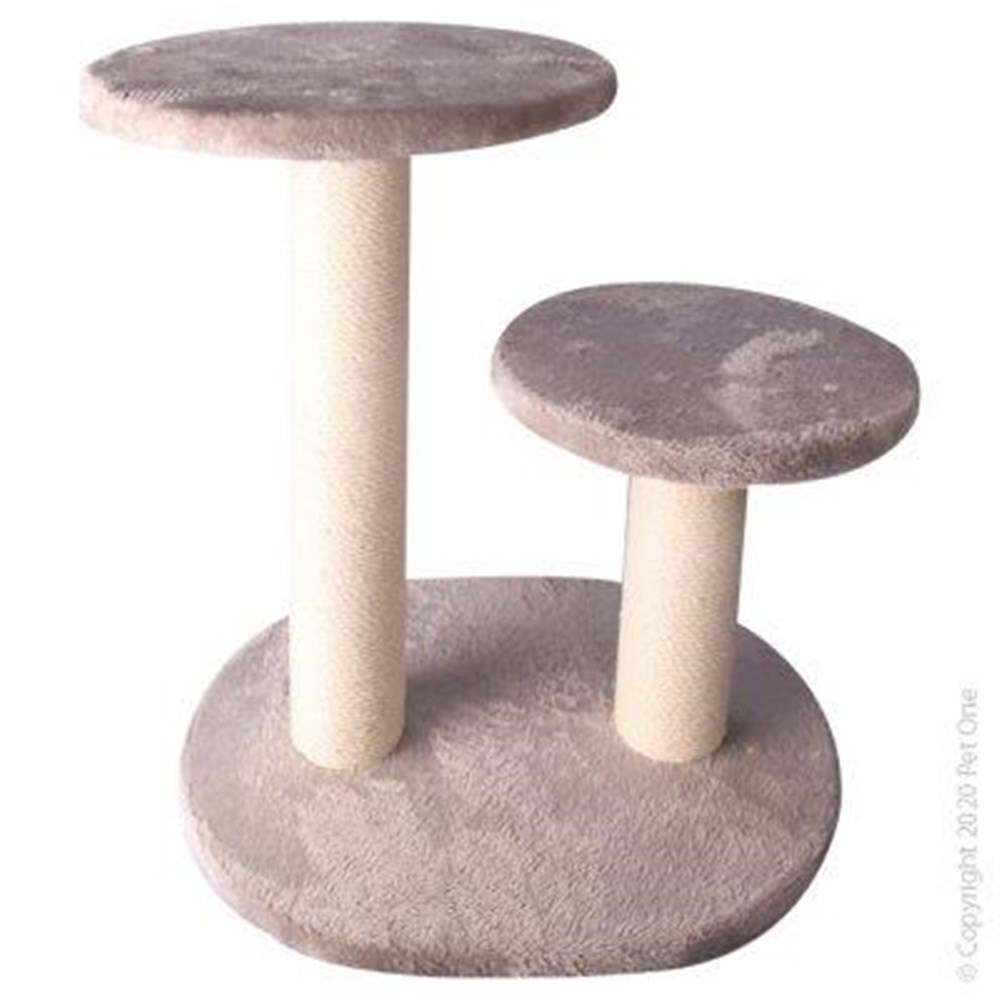 Pet One Cat Scratching Tree Double Post With Platform White