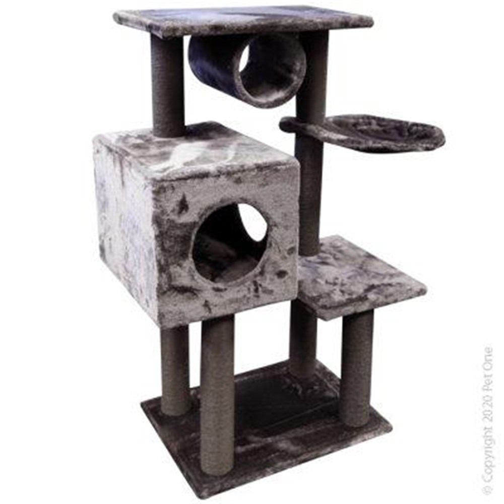 Pet One Cat Scratching Tree Post With Tunnel & Hide & Hammock Grey
