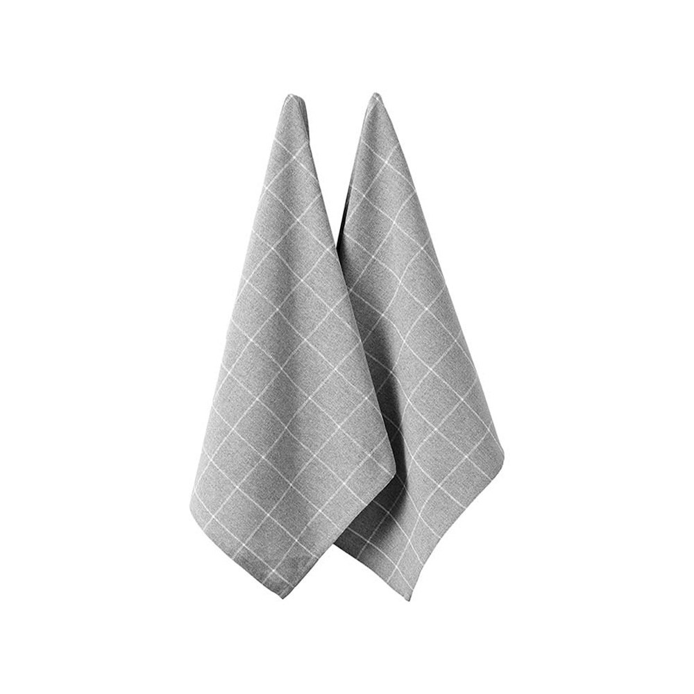 Ladelle Eco Check Grey 2pk Kitchen Towel