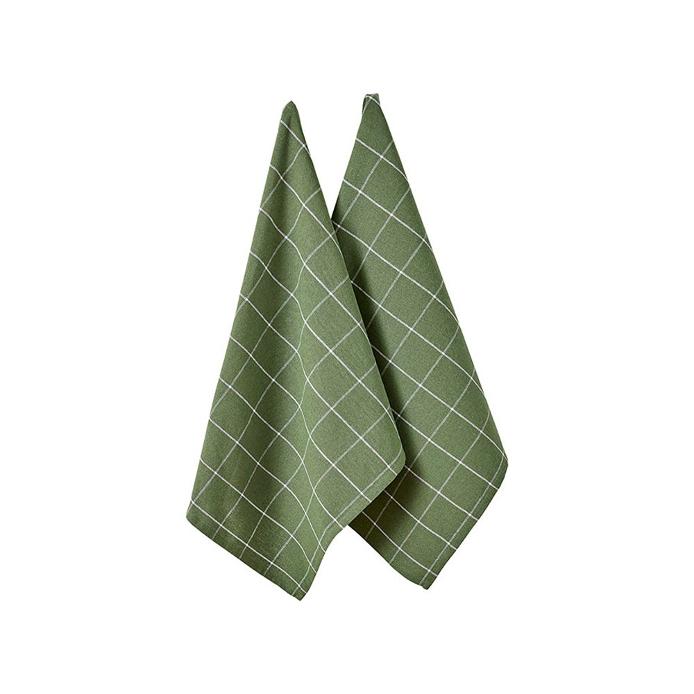 Ladelle Eco Check Green 2pk Kitchen Towel