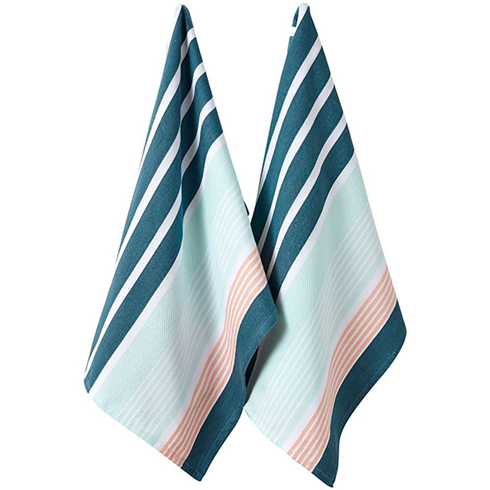 Ladelle Melanie 2pk Kitchen Towel - Amore Aqua