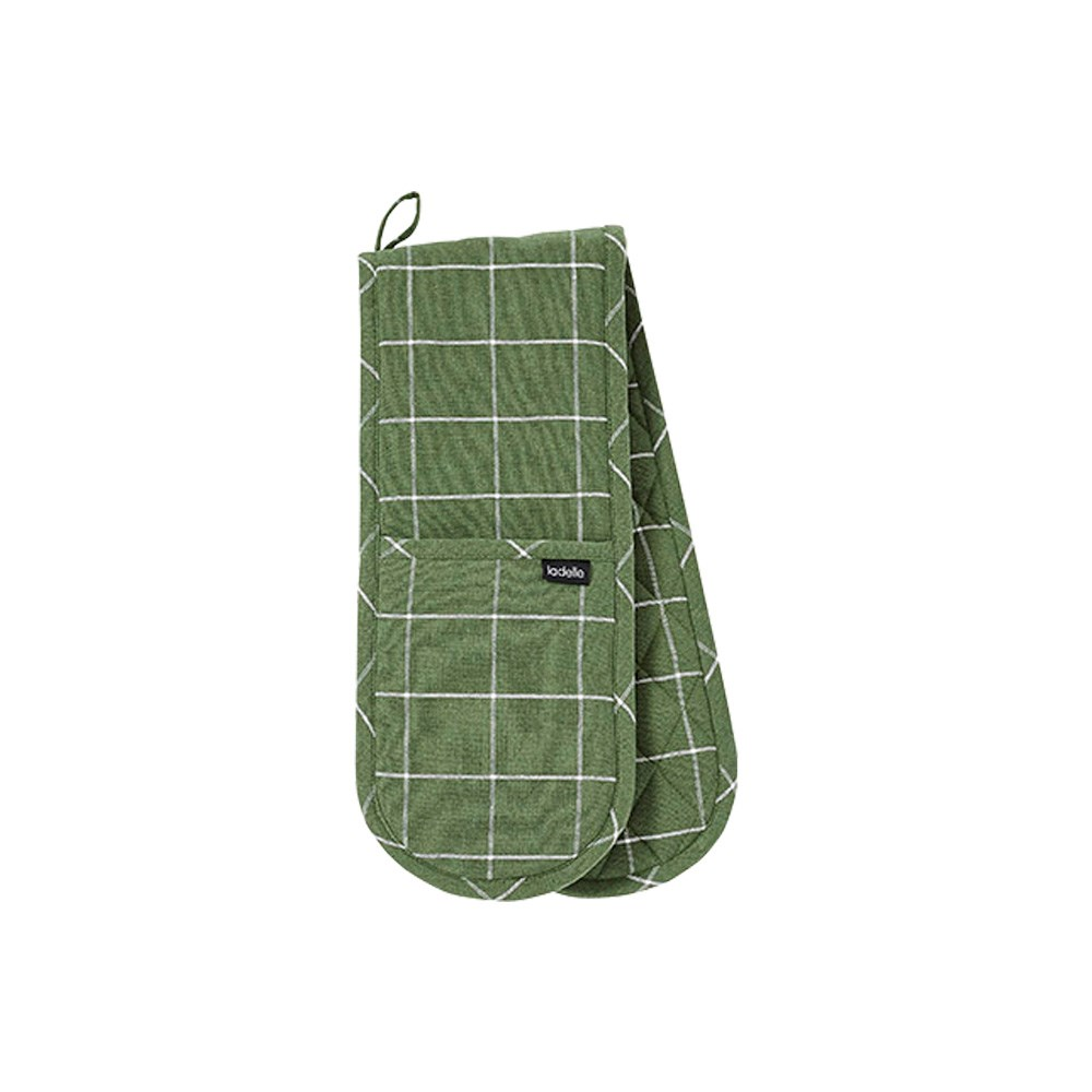 Ladelle Eco Check Green Double Oven Mitt