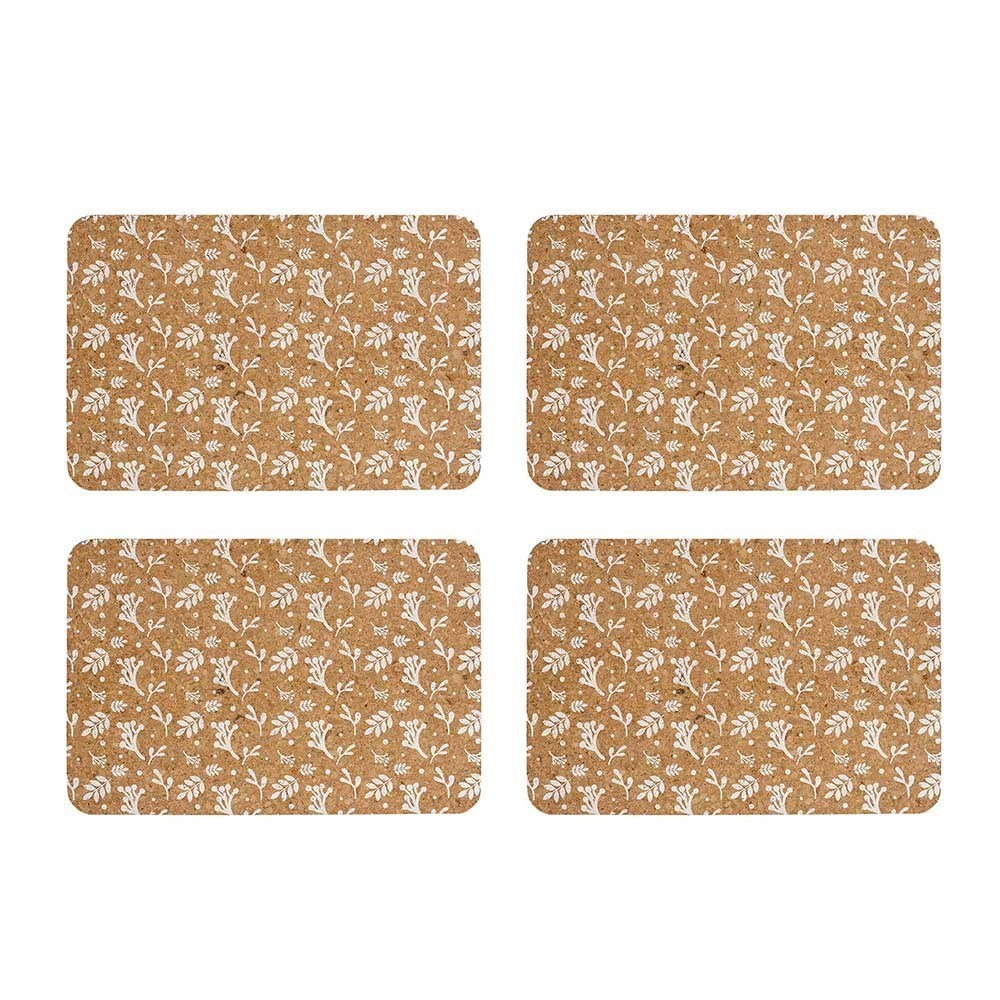 Ladelle Dwell Leaf Printed Cork Placemat Set of 4 White