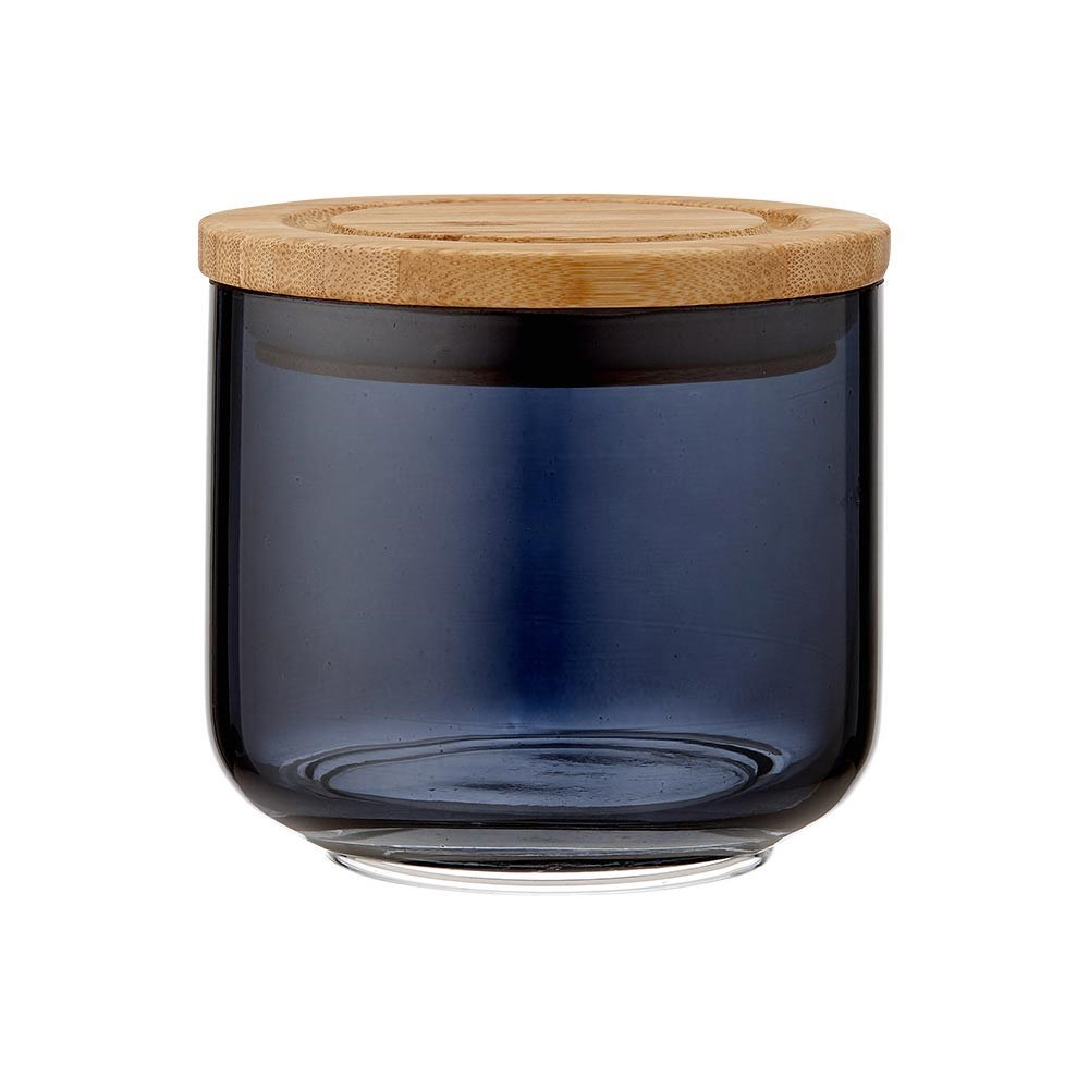 Ladelle Stak Midnight Glass & Bamboo Canister 9cm Black