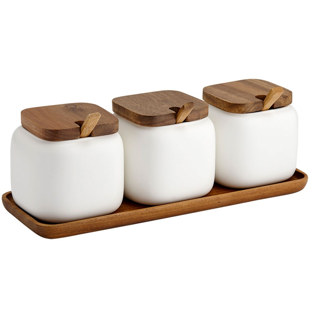 Ladelle Essentials Porcelain Canister & Spoon Counter Set White