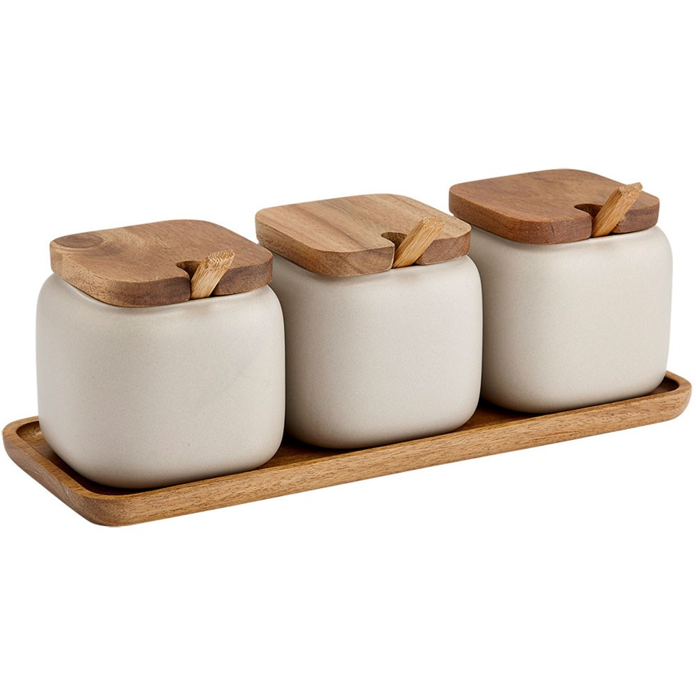 Ladelle Essentials Porcelain Canister & Spoon Counter Set Stone Grey