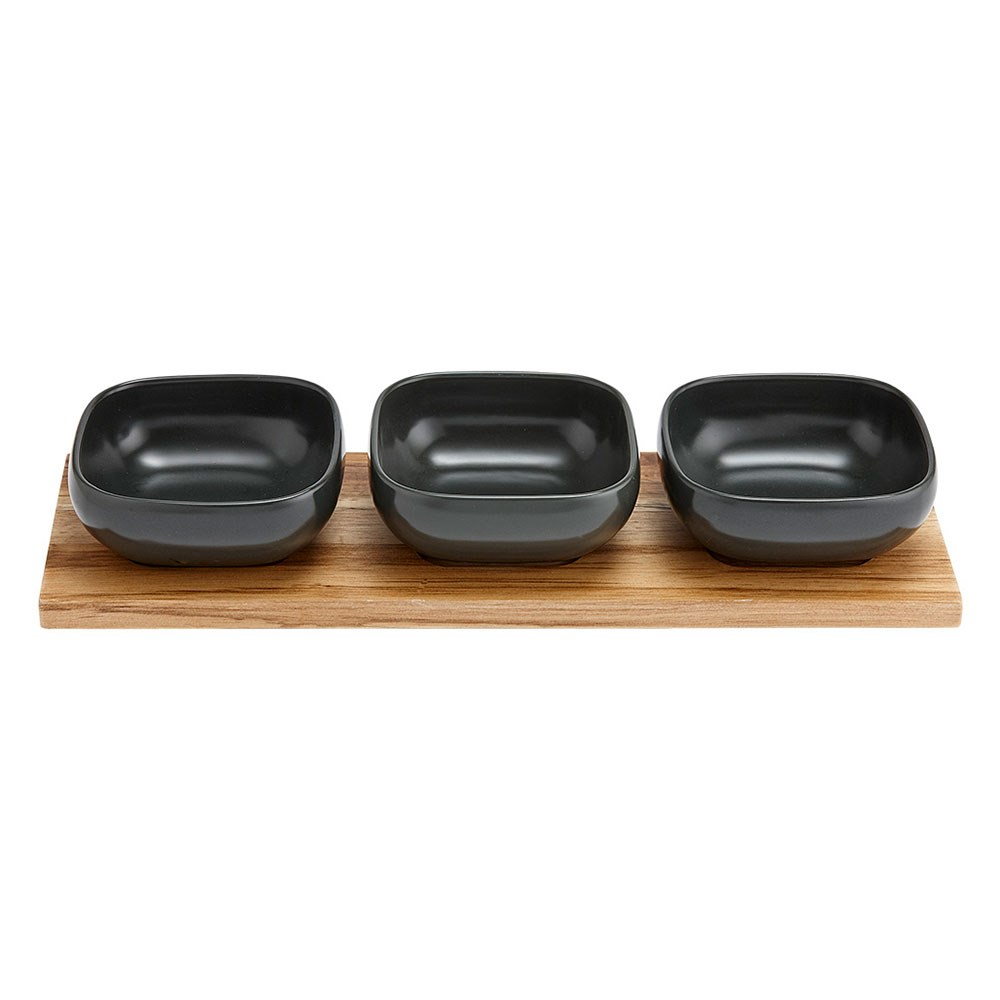 Ladelle Essentials Porcelain 4 Piece Bowl Set Charcoal