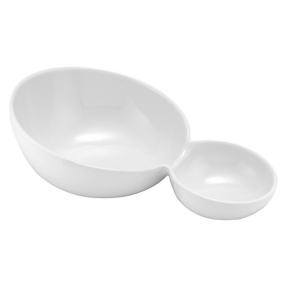 Ladelle Classica Porcelain Sloped Split Serving Bowl 24.8 x 16.2 x 8.2cm White