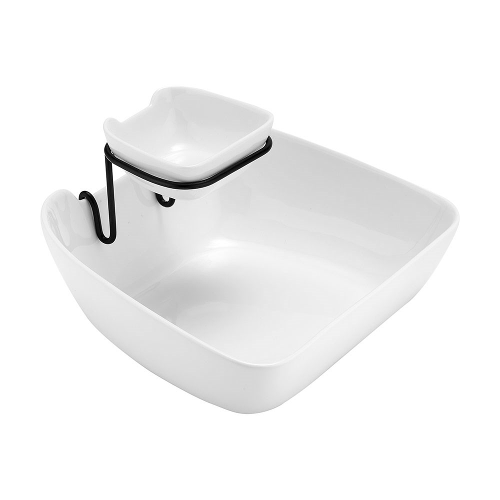Ladelle Classica Porcelain Double Layer Chip & Dip Bowl 25.3 x 22.5cm White