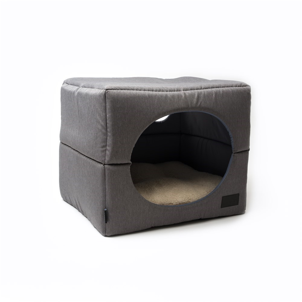 La Doggie Vita Grey Cube Dog Bed Small