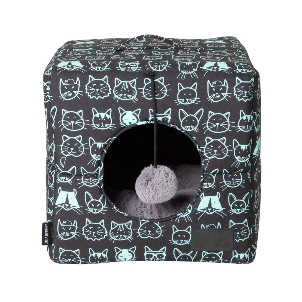 La Doggie Vita Kitty Club Black & Mint Cube Cat Bed