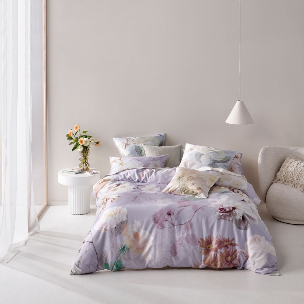 Linen House Annella Lilac Queen Bed Quilt Cover Set