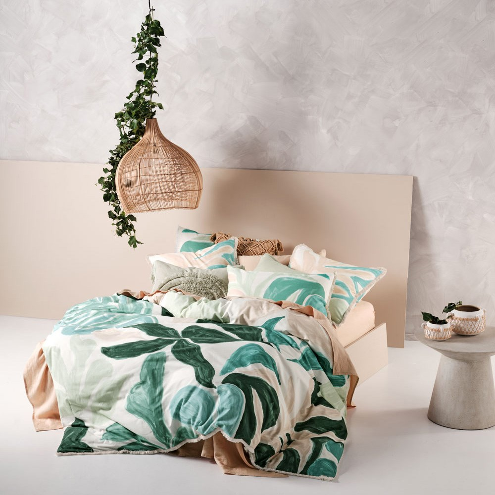 Linen House Terrarium Green Queen Bed Quilt Cover Set