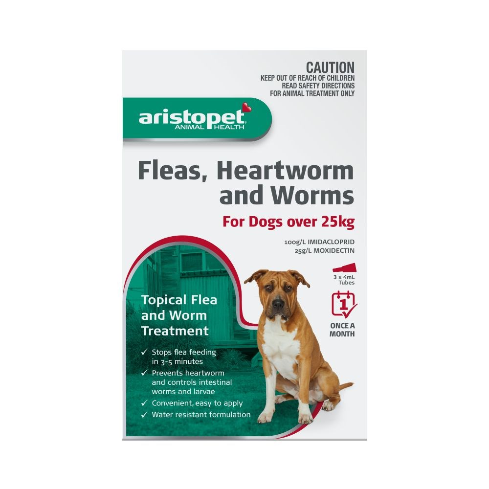 Aristopet Fleas, Heartworm And Worming Spot on Treatment for Dogs Over 25kg 3 Pack