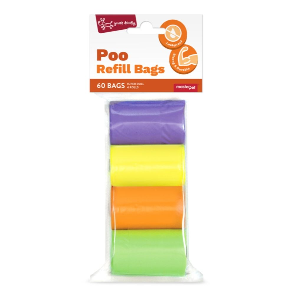 Yours Droolly Refill Dog Poo Bags Rainbow 60 Pack