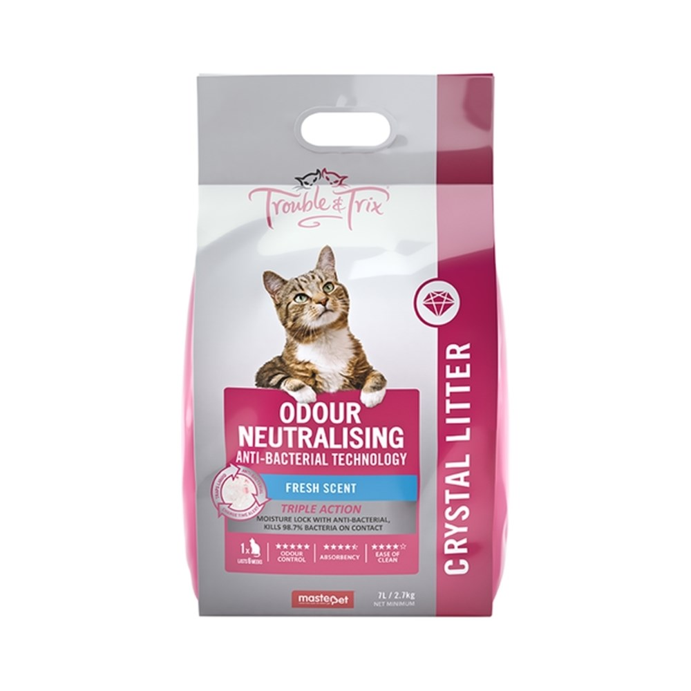 Trouble & Trix Odour Neutralising Cat Litter Anti Bacterial Crystal Fresh Scent 7L