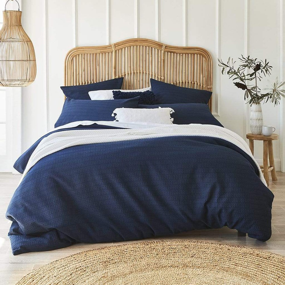 MyHouse Hartley Double Bed Quilt Cover Set Dark Blue