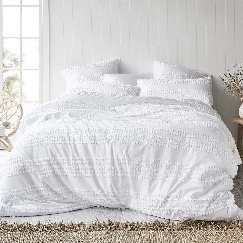 MyHouse Malaya Queen Bed Quilt Cover Set White