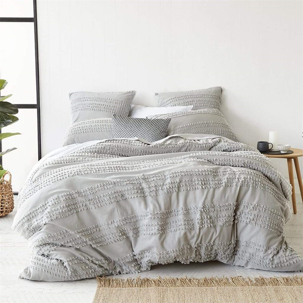 MyHouse Malaya Queen Bed Quilt Cover Set Light Grey